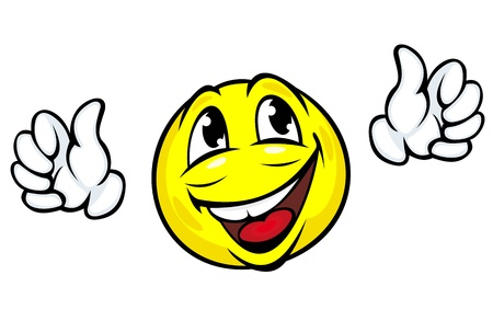 welcome smile: Happy face icon with hands in cartoon style
