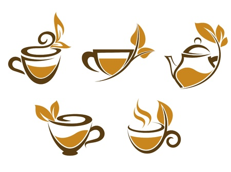 Cups of tea with brown leaves for fast food or herbal drinks design Vector
