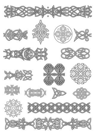 Ornamentos celtas y los patrones establecidos para embellecer y adornado Ilustración de vector