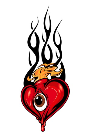 Heart tattoo or mascot with eye and tribal flames isolated on white Vector