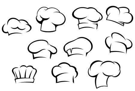 panettiere: Bianco cappelli da cuoco e berretti impostato in stile cartone animato Vettoriali