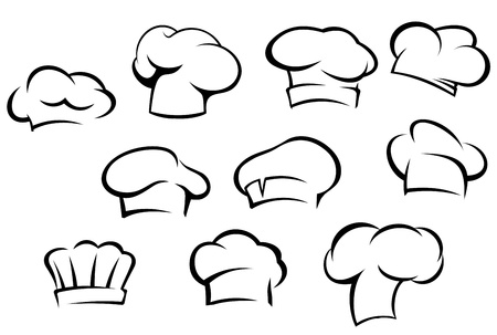 confection: White chef hats and caps set in cartoon style Illustration