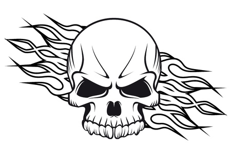 Human skull with flames for tattoo or mascot design Vector