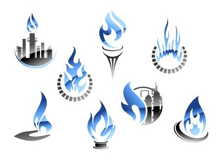 нефтяной: Газ и символы нефтяной промышленности в глянцевом стиле Иллюстрация