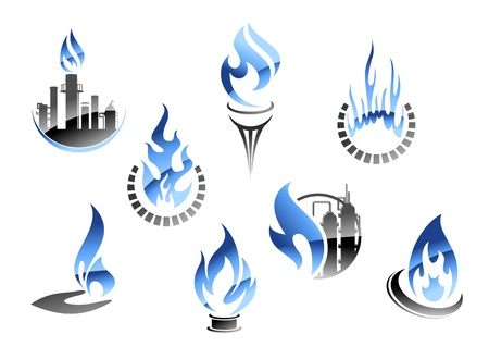 Oil and gas: Gas and oil industry symbols in glossy style Illustration