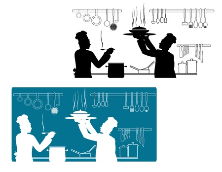 worker silhouette: Chefs in uniform cooking on the kitchen for culinary concept Illustration