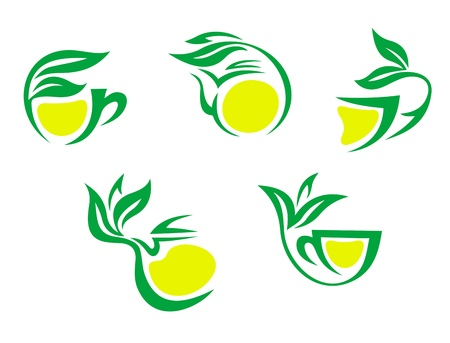 Tea cups symbols with lemon and green leaves for beverages design Vector