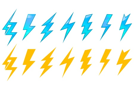 lightnings: Lightning icons and symbols set isolated on white background
