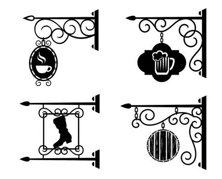rejas de hierro: Los carteles de publicidad de bares, pubs y talleres