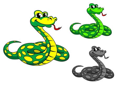 Funny cartoon python snake in three variations isolated on white background Vector