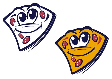pizza dough: Funny slice of pizza in cartoon style for fast food design
