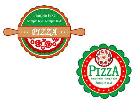 Italian pizza symbols and banners for fast food design Vector