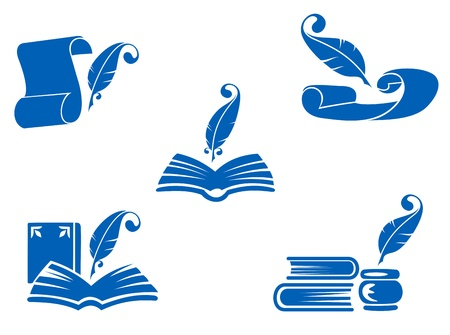 Books, manuscripts and feathers icons set for education industry design Vector