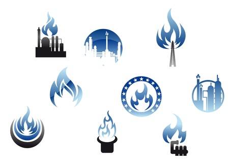 Gas industry symbols and icons with blue flames Vector