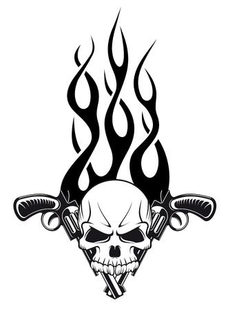 tatouage: Cr�ne humain avec des armes � feu et flammes de conception de tatouage