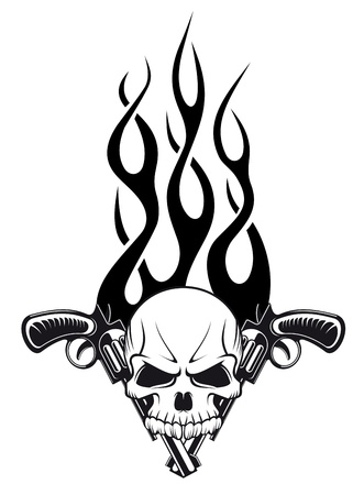 tattoo face: Human skull with gun and flames for tattoo design Illustration