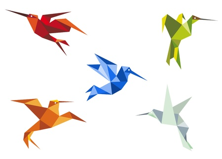 Flying hummingbirds in origami paper style on white background Vector