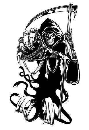 guadaña: Negro muerte con guadaña para Halloween o terror concepto