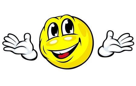 welcome smile: Emoci�n friendly icono de la cara con las manos en estilo de la historieta