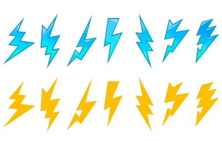 lightning: Set of lightning icons and symbols isolated on white background