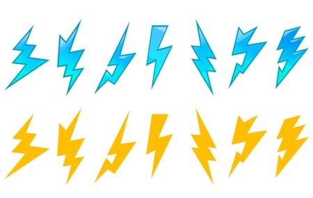 Set of lightning icons and symbols isolated on white background