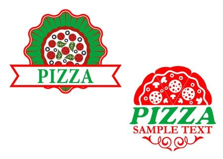pizzeria label: Emblemas de pizza italiana y banderas para el dise�o de la comida r�pida