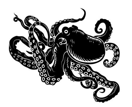ahtapot: Sealife tasarımı için uzun dokunaçlarıyla vahşi okyanus Çizim