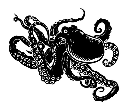 tentacle: Wild ocean octopus with long tentacles for sealife design Illustration