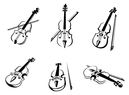 Set of classical musical violins instruments in silhouette style Vector