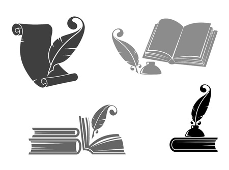 inkwell: Books and quills icons for education design Illustration