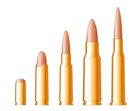 munition: Set of gun bullets isolated on white background