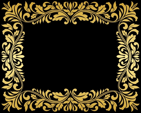 Vintage gold frame with floral elements for luxury design Vector