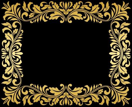 vintage gold frame: Vintage gold frame with floral elements for luxury design