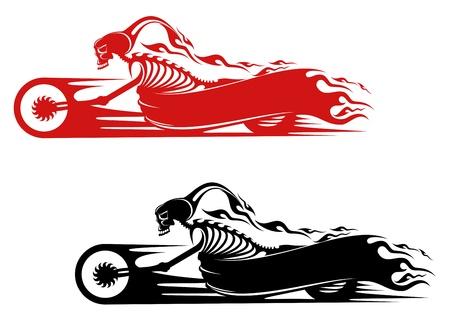 skull tattoo: De dood monster op motorfiets voor biker en racer tattoo ontwerp Stock Illustratie