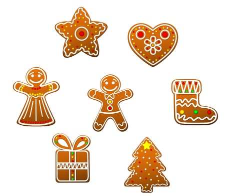 homemade bread: Gingerbread christmas cookies set isolated on white background