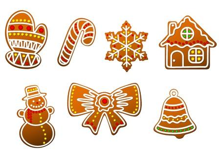 lebkuchen: Lebkuchen Weihnachten Cookies gesetzt Illustration