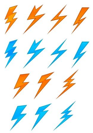 Lightning icons and symbols set on white background