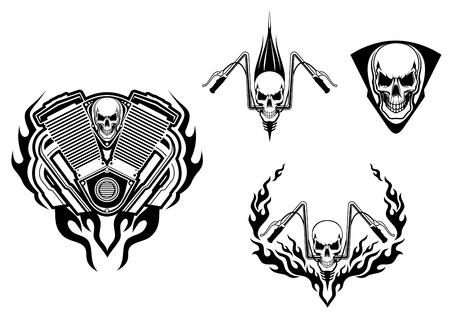 motor bike: Death monster for racing mascot or tattoo design
