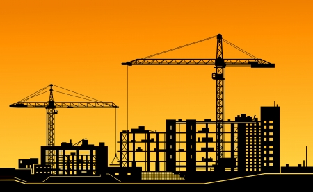housing project: Working cranes on building for construction industry design