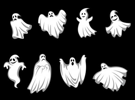 Conjunto de fantasmas para Halloween diseño de vacaciones aislado en el fondo