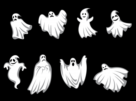 ghost face: Set of ghosts for halloween holiday design isolated on background
