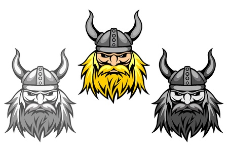 Agressive viking warriors for mascot or tattoo design Vector