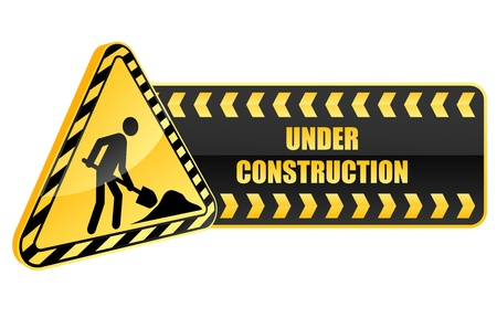under construction icon: Under construction icon and warning sign in glossy style