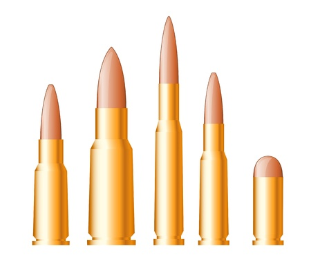 munition: Set of gun bullets and ammunition isolated on white background