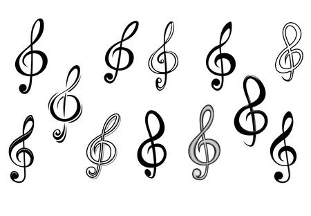 clave de sol: Teclas de música nota ajustada aislado en blanco para el diseño de entretenimiento Vectores