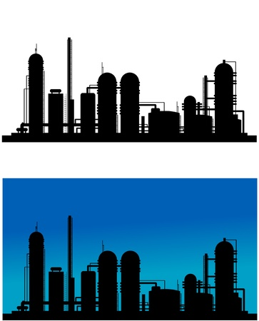polluting: Chemical or refinery plant silhouette for industrial design