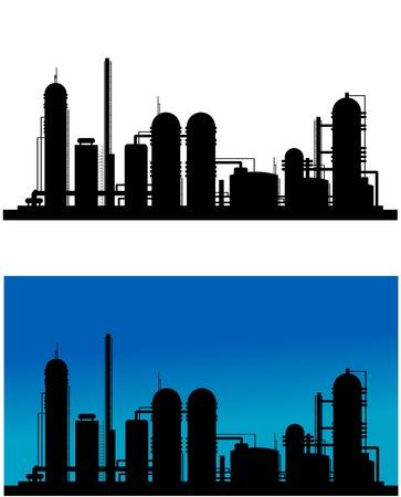 refinaria: Silhueta planta química ou de refinaria para o projeto industrial