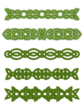 celtic symbol: Green celtic ornaments and embellishments for design and decorate
