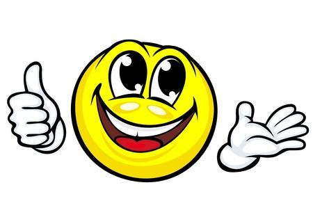 Funny cartoon smile makes good or ok gesture