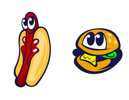 Hamburger and hot dog in cartoon style for fast food design Vector